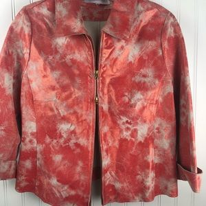 DONNA DEGNAN Leather Lamb Skin Tie-Dyed Jacket